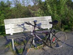 Mon vélo au sommet du mont Laurier avec mon GPS